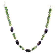 "Necklace Oval Beaded Amethyst Connemara Marble  19""  Made in Ireland CAM3N"