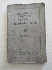 Original 1930s Chrysler Airflow Croyden automobile owner's manual - UK edition