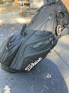 Titleist 14 Way Players Stand Bag- Black with White Lettering