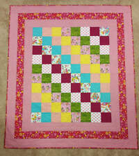 Baby Quilt~Shower Gift~ Pinks and Reds~Handmade