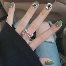 False Press On Nail Full Cover Fingernail Art Tips Short Manicure Wearable 24pcs