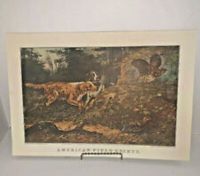 """Currier and Ives Calendar Print American Field Sports Dog November 1955 16""""x11"""""""
