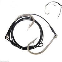 Stainless Steel Double Shark Hooks 400lb Nylon Coated  Rigs Cable Leader Hooks