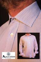 "AQUASCUTUM Formal Shirt 17 XL-XXL *EXCELLENT COND* Blue White Stripe PIT-PIT 26"""
