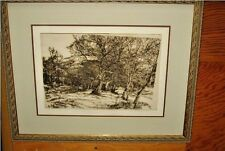 "HERBERT FINK SEPIA TONE PRINT ""STATE PROOF #2 BRUSH UNDER WIND SWEPT TREES"""