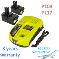 2x 18V 6.0Ah Lithium P108 Battery & Charger Set for Ryobi ONE+ P117 P102 P104 US