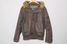 $375 G-STAR Brown Polair Faux Fur Hooded Combat Bomber Jacket Mens XL Fits Large
