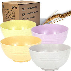 Unbreakable Set of 4 Large Cereal Bowls 24oz Wheat Straw Degradable Bowl