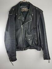 Men Leather Black  Moto  Biker Jacket Motorcycle First Genuine Size 58