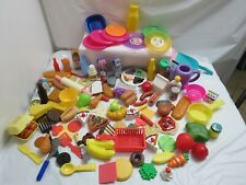 LARGE LOT OF PRESCHOOL KITCHEN PLAY FOOD CONDIMENTS PLATES DISHES 112 PIECES