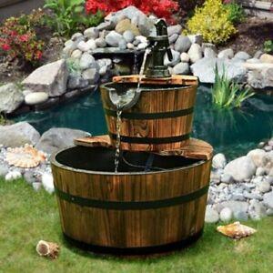 Outdoor Waterfall Fountain Pump Garden 2-Tier Barrel With Pump