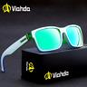 VIAHDA Men Sport Square Sunglasses Outdoor Driving Green Lens Coating Glasses