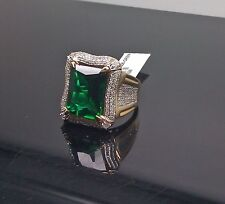 Uniquely Designed Men's Genuine 10K Gold Emerald,0.85CT Diamond Ring,Engagement