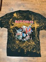 Men's IRON MAIDEN T Shirt (XL) Black Bleach Dye Trooper Flag
