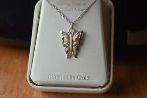 Vintage Coleman Co. Sterling 12k. Black Hills Gold Butterfly Pendant.