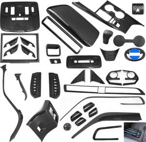 For Toyota Camry 2018-2021 39PCS Black carbon fiber Car Interior Kit Cover Trim