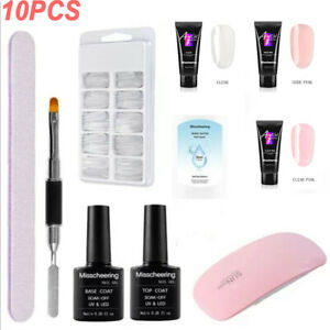 Poly gel Nail Kit DIY 10PCS SET Poly Builder Acrylic Art UV Lamp Glue Extension