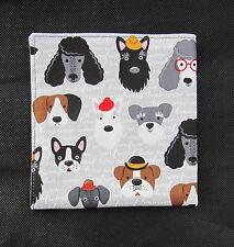 Mens gris y negro pañuelo de bolsillo cuadrado Cabezas De Perro pañuelos Pañuelo-Male-UK