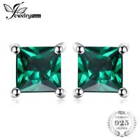Square 0.6ct Created Emerald 925 Sterling Silver Stud Earrings Fashion Jewelry