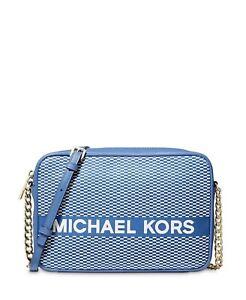 NWT Michael Michael Kors Jet Set Large Crossbody Vintage Blue Gold MSRP $168 NEW