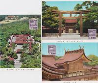 JAPAN Meiji Shrine, Tokyo set of 3 Maximum Cards each with SG 321 1937 8s stamp