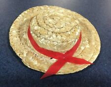 Vintage Doll Straw Hat With Red Ribbon