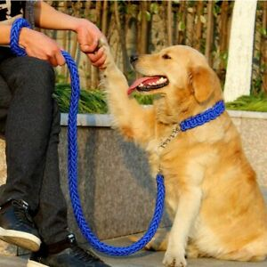 Dog Collar Chain Large Double Strand Rope Nylon With Leash For Bulldog Pitbull