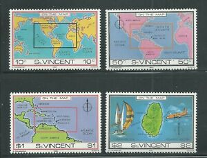 St. Vincent Scott # 611-614 MNH Mapped Location
