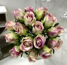 SILK WEDDING BOUQUET ARTIFICIAL POSY ROSES CREAM IVORY PURPLE EDGE ROSE FLOWERS