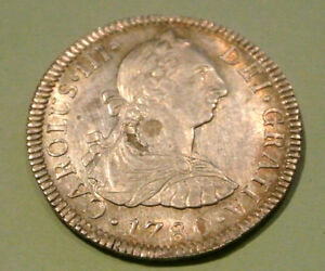 MEXIQUE CHARLES III 2 REALES SILVER 1780 MEXICO UNC RARE