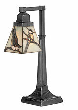 "Song Birds TIFFANY STYLE Stained Glass DESK LAMP Mission Base 19.5""H New!"