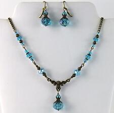 Aqua-Topaz March Births. AB Blue Crystal Vintage Victorian Necklace Earring Set