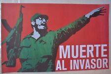 DEATH TO THE INVADER Cuba Propaganda Poster with Late Cuban Leader FIDEL CASTRO