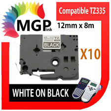 50x Laminated Label Tape for Brother Tz-335 Tze-335 White on Black 12mm X 8m