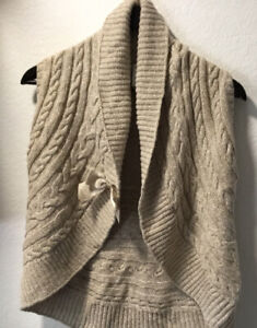 Gymboree sweater Knit Cable cardigan Beige Sandy Size M 7-8