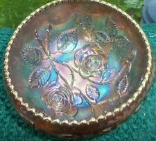 INCREDIBLE IMPERIAL EMBOSSED OPEN LUSTRE ROSE CARNIVAL BOWL RUFFLED TOP COLOR !~