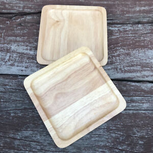 """Vintage Thai Small Natural  Rubber Woods Tray Brown Size 6"""" X 6"""" Square Shape X2"""