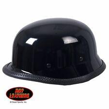 HLN2009 Gloss Black German Style Half Skull Cap Biker Novelty Helmet Size S