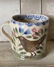 Bell Pottery Spongeware Small Mug Bird Design