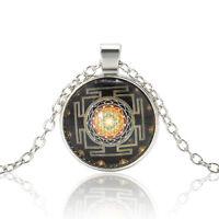 Tibet Silver Jewerly Mystery Sri Yantra Patterns Cabochon Glass Pendant Necklace