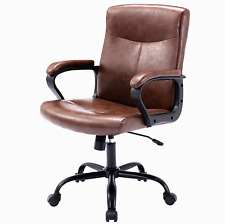 Modern Office Leather Executive Desk Chair Swivel Computer Chair Brown Us Stock