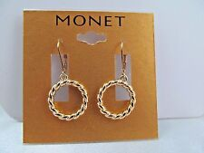 NWT MONET GOLD BRAIDED RING DANGLE EARRINGS, Stunning Shiny