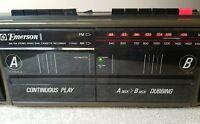 Vintage Portable Dual Cassette Recorder: Emerson CTR932 AM/FM Stereo Boombox