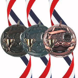 Swimming - 50mm Medal (In Gold, Silver or Bronze) With Ribbon & FREE Engraving