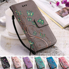 Womens Flip Wallet Case Flower Print Silicone + Leather Ladies Cover For Samsung