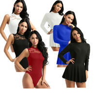 Womens Lace Backless Dance Dress Bodysuit Ballet Dancewear Leotard Skirt Costume