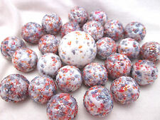 25 Glass Marbles PRINCESS White/Purple speckled Confetti game vtg style Shooter