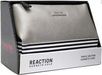 NWOB Kenneth Cole Reaction Triple Section Cosmetic Case Silver Travel Bag