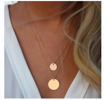 UK BOHO CHIC GOLD DISC CHARM DOUBLE LAYER NECKLACE Ethnic Tribal Jewellery Gift