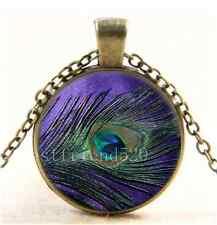 Vintage Purple Peacock Feather Cabochon Glass Bronze Chain Pendant Necklace